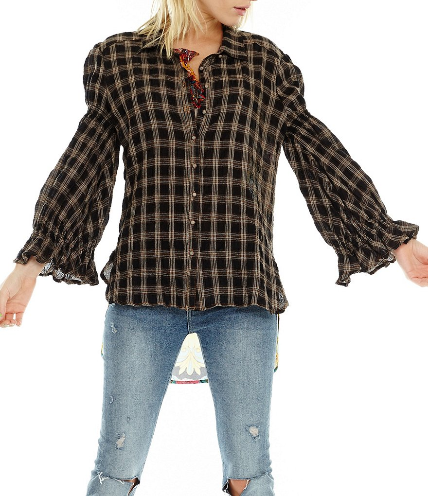Aratta Pretty Woman Puffed Statement Shoulder Smocked Sleeve Plaid Button Front Shirt