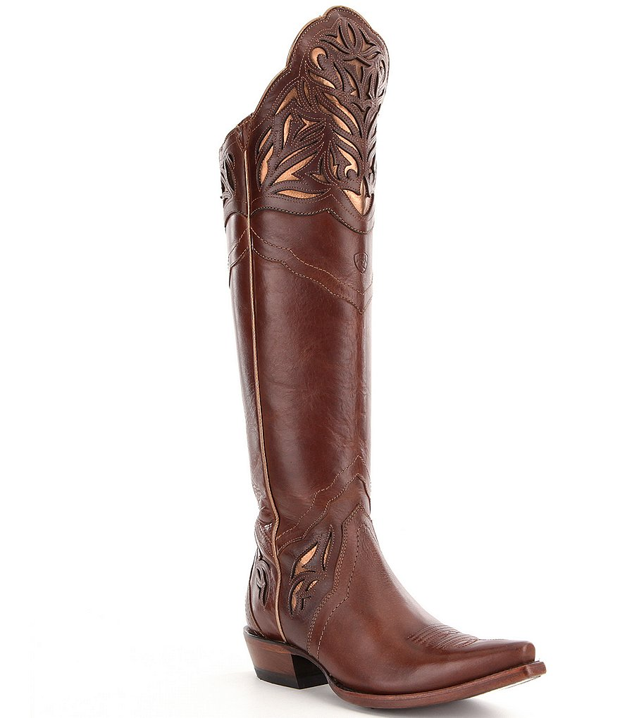 Ariat Chaparral Leather Metallic Inlay Laser Cut Detail Over The Knee Riding Boots