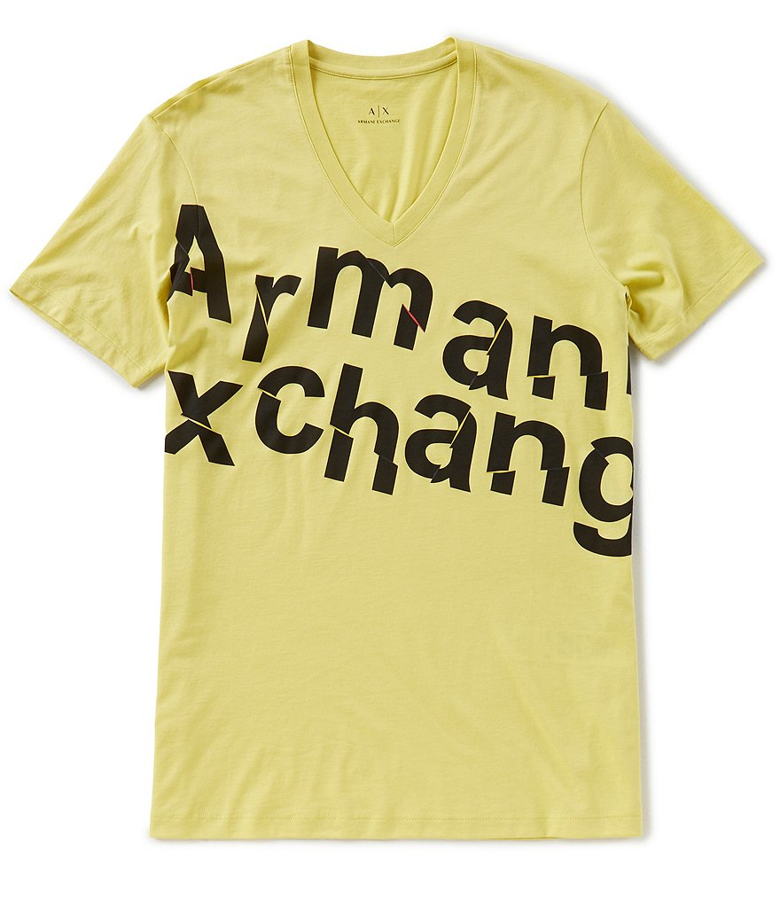 Armani Exchange Broken Logo Short-Sleeve V-Neck Tee