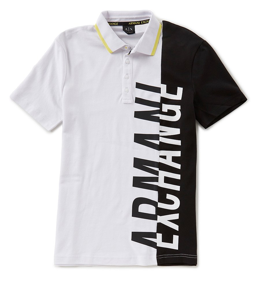 Armani Exchange Color Block AX Logo Short-Sleeve Polo Shirt