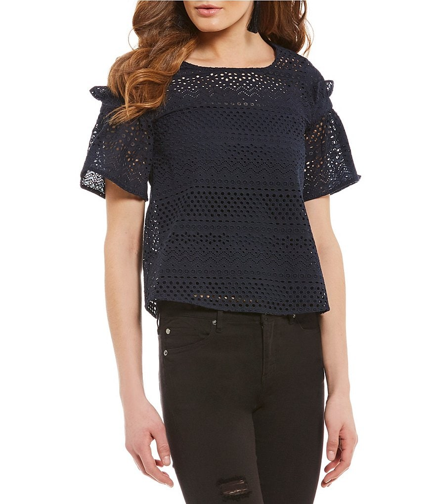 Armani Exchange Eyelet Short Ruffle Sleeve Top
