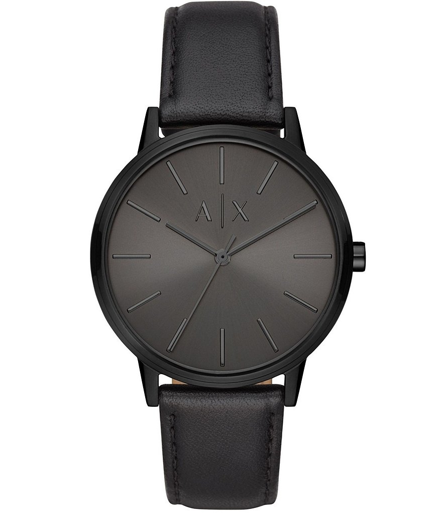 Armani Exchange Men's Three-Hand All Black Leather Watch