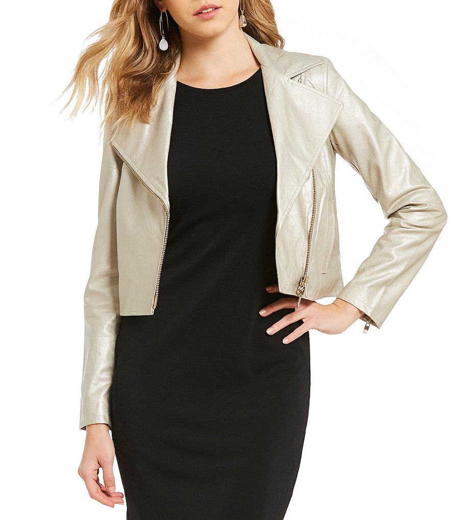 Armani Exchange Metallic Faux Leather Moto Jacket