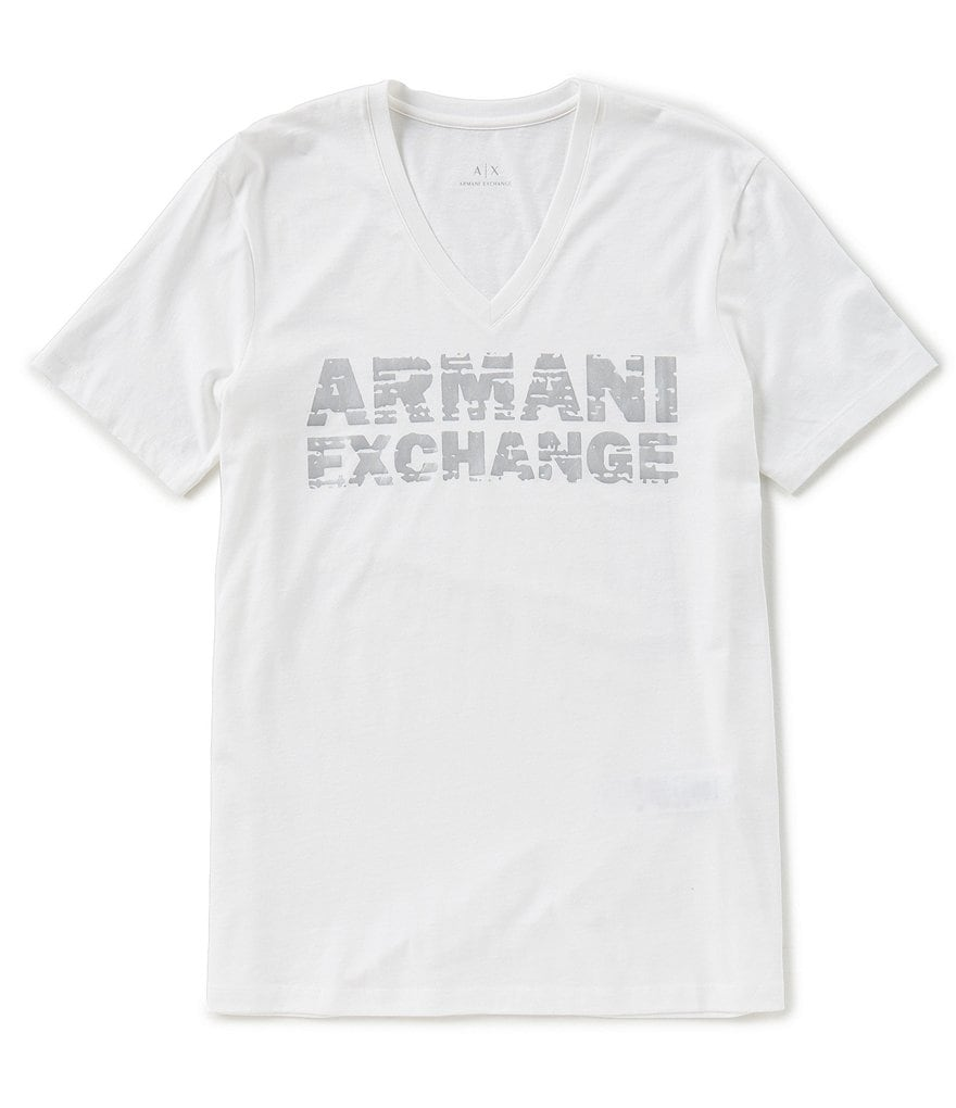 Armani Exchange Metallic Logo Short-Sleeve V-Neck Tee