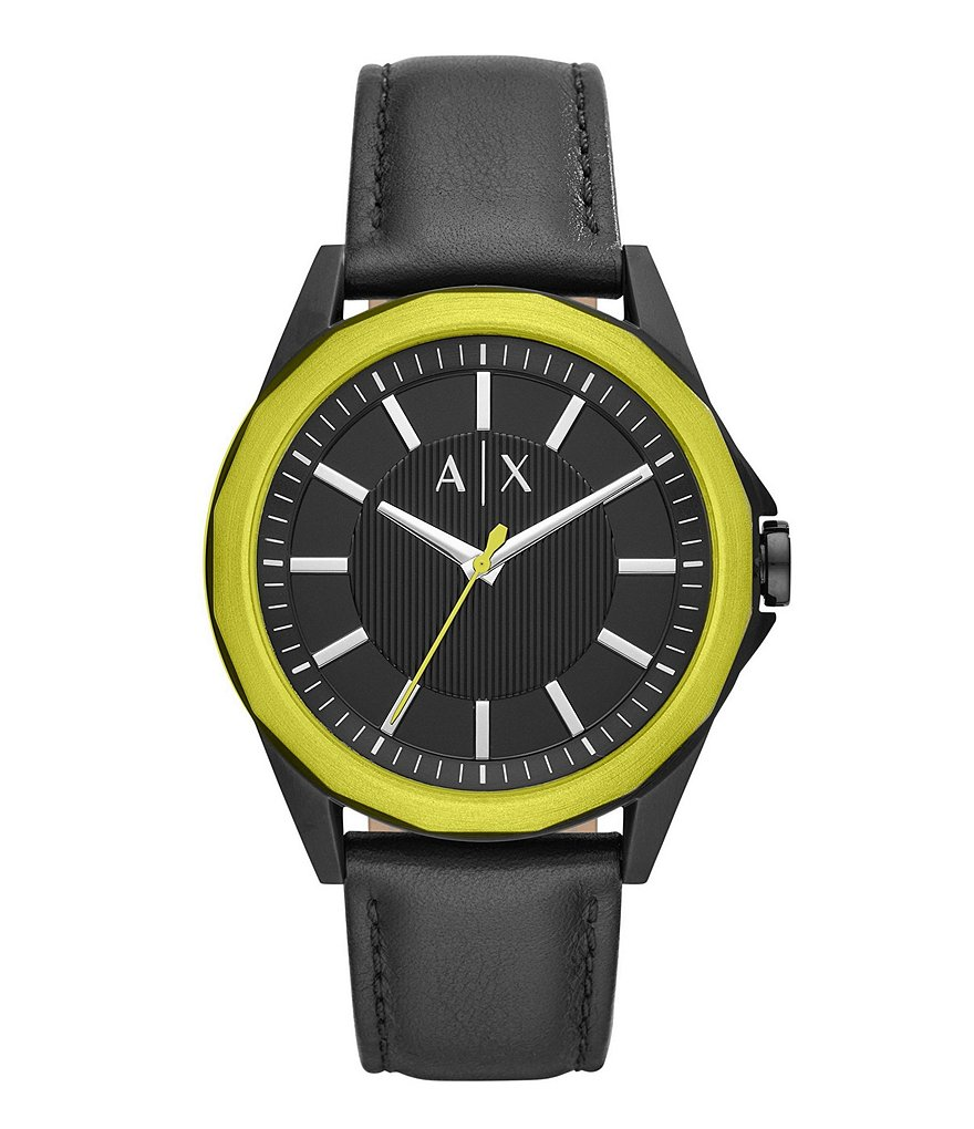Armani Exchange Yellow Three-Hand Black Leather Watch