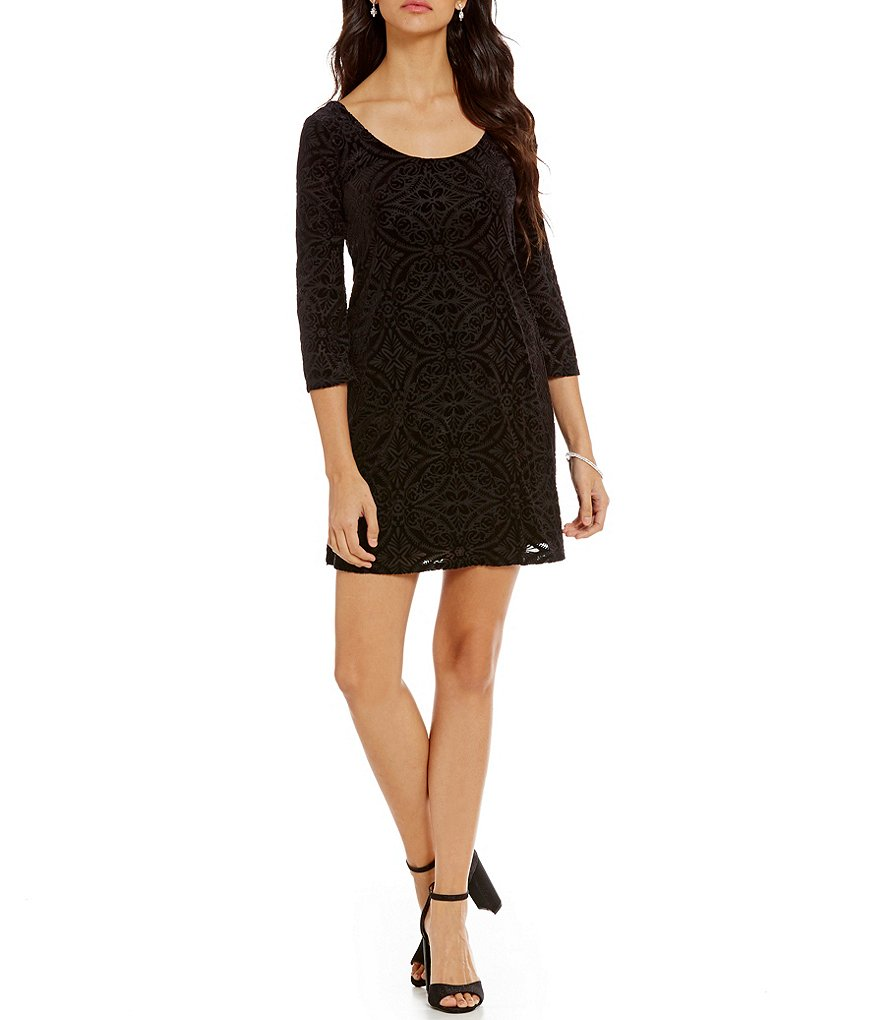 As U Wish Burn Out Velvet Shift Dress