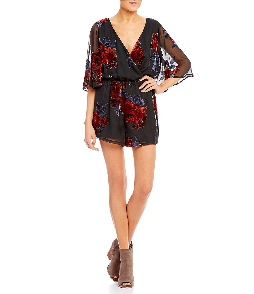 As U Wish Burnout Floral Romper