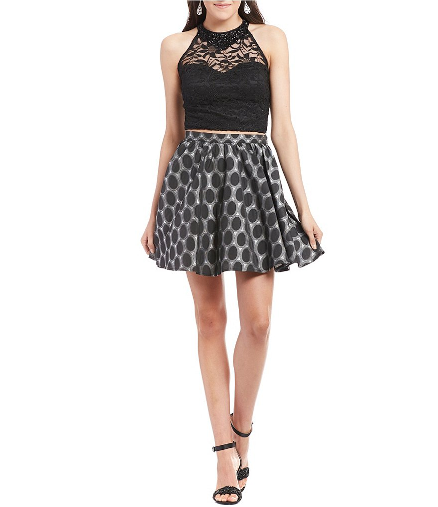 As U Wish Lace Top Dot-Print Skirt Two-Piece Fit-and-Flare Dress