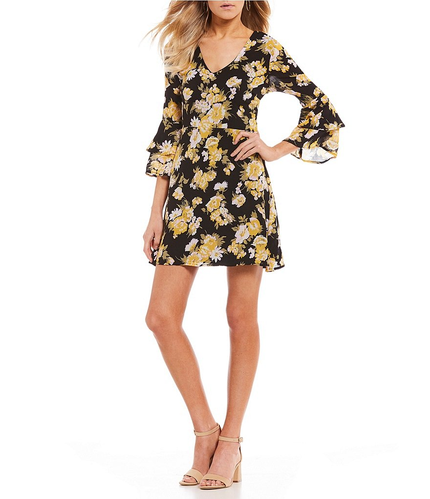 As U Wish Tiered Sleeve Floral Print A-Line Dress