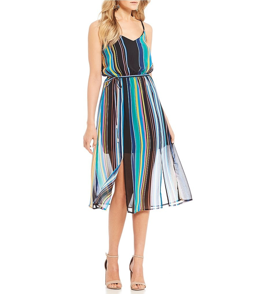 As U Wish V-Neck Striped Midi Dress