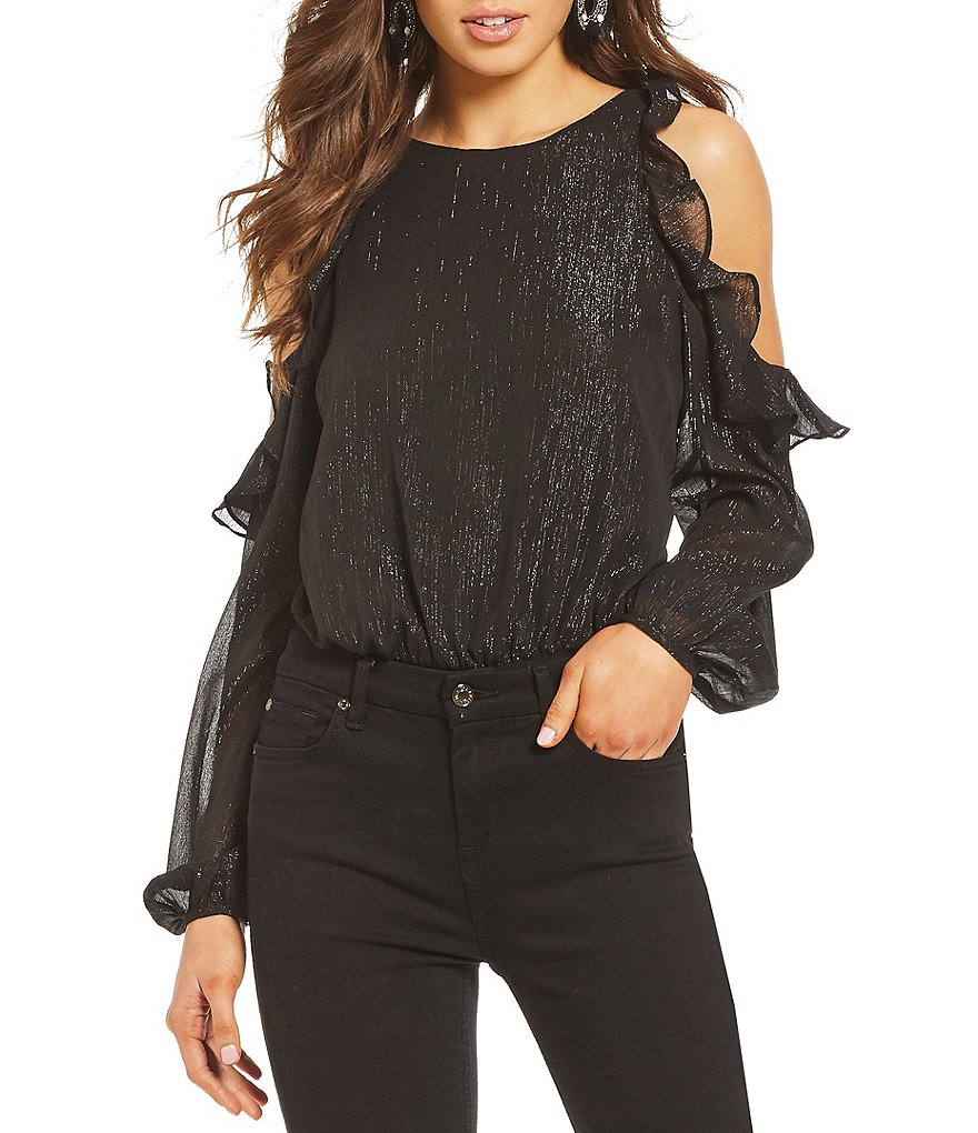 ASTR the Label Analesse Cold Shoulder Ruffle Bodysuit