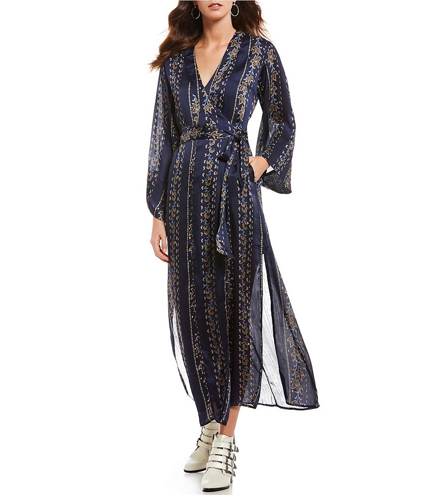 ASTR the Label Cordelia Printed Wrap Style Maxi Dress