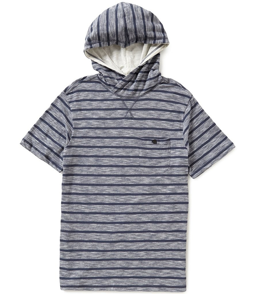 Astronomy Gulf Short-Sleeve Mockneck Horizontal Striped Hooded Pullover Shirt