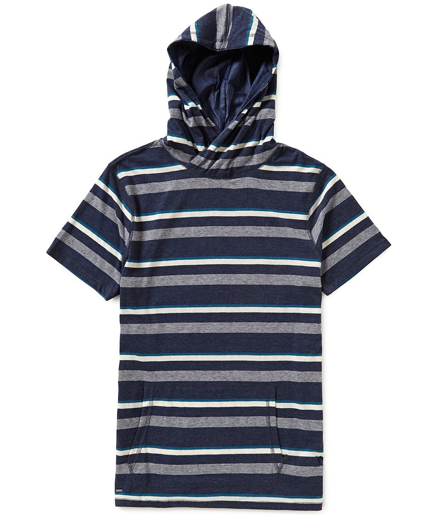Astronomy Saline Short-Sleeve Mockneck Horizontal Striped Hooded Pullover Shirt