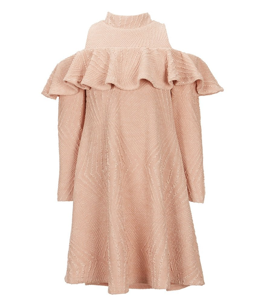 Ava & Yelly Big Girls 7-16 Cold Shoulder Textured Knit Dress