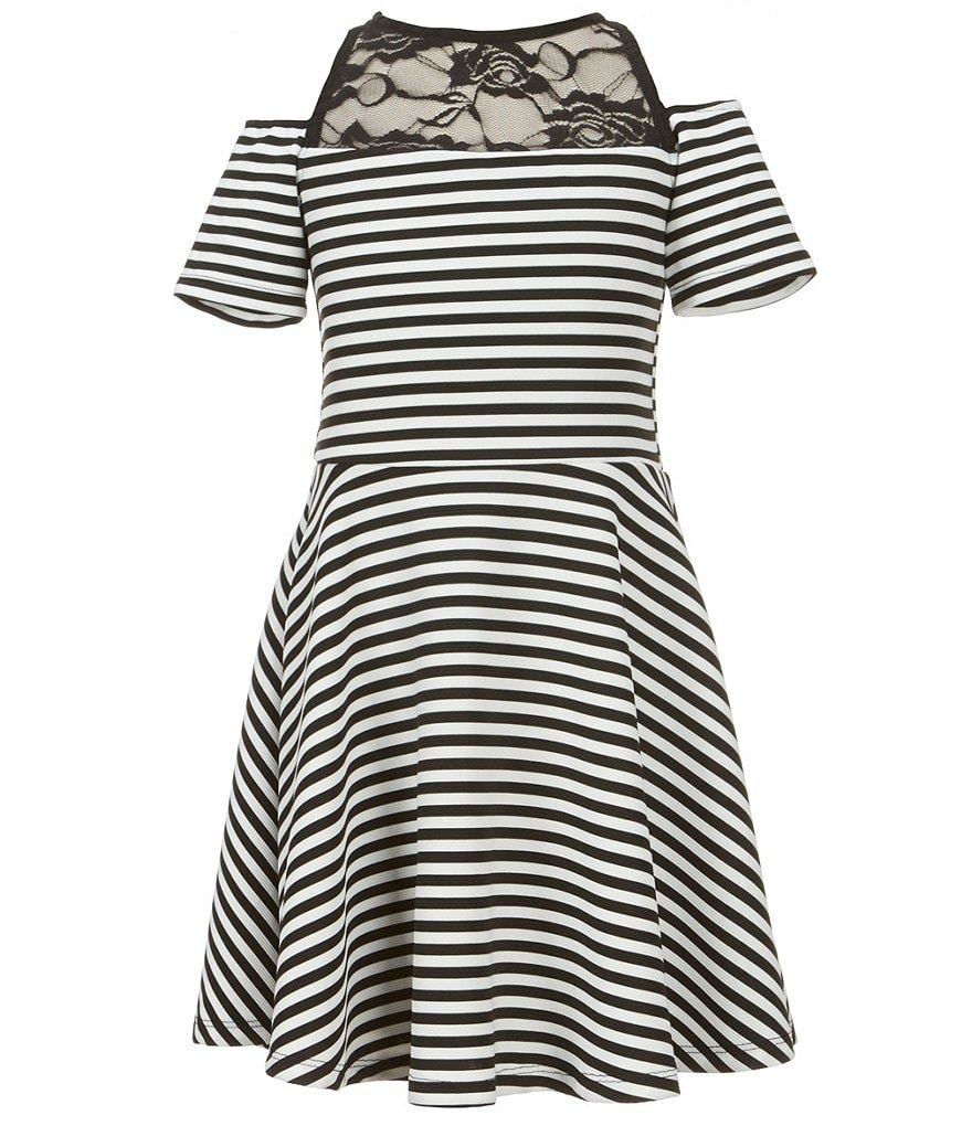 Ava & Yelly Big Girls 7-16 Striped Cold-Shoulder A-Line Dress