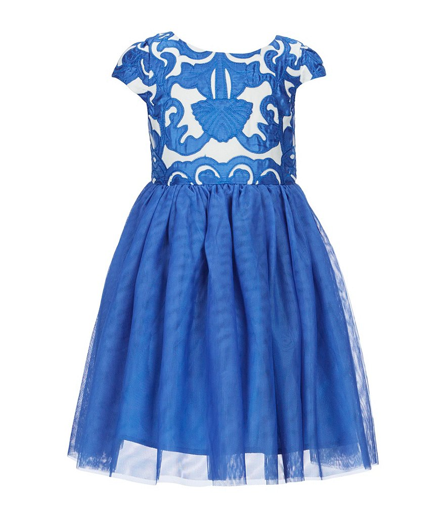 Ava & Yelly Little Girls 4-6X Embroidered Brocade Party Dress