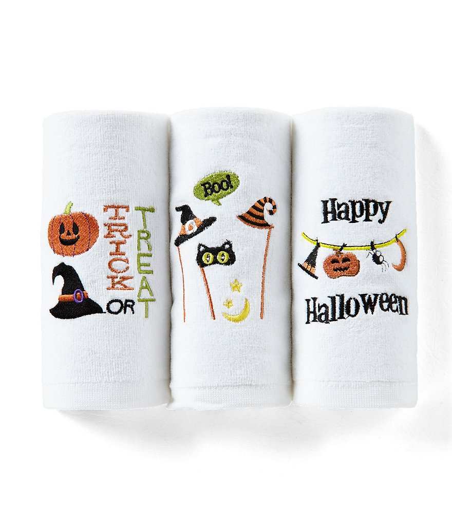 avanti linens halloween collection trick or treat fingertip towel set