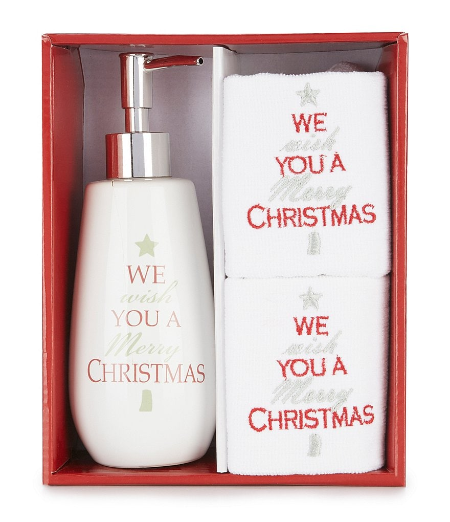 Avanti Linens We Wish U A Merry Christmas Fingertip Towel & Lotion Dispenser Set