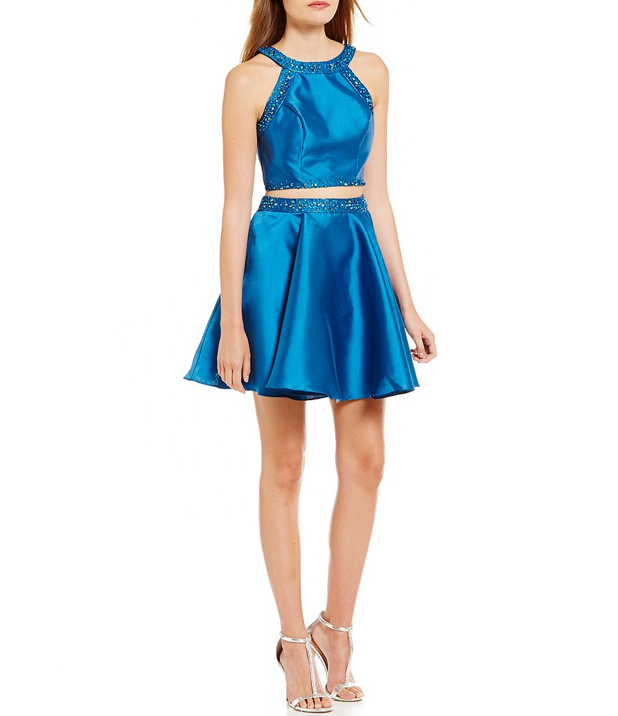 B. Darlin Bead Trimmed Satin Two-Piece Fit-and-Flare Dress
