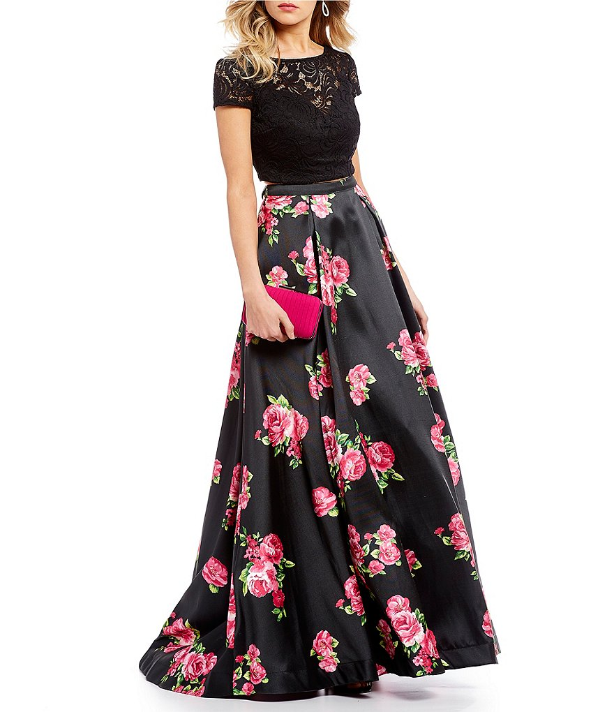 B. Darlin Cap Sleeve Lace Top with Floral Skirt Two-Piece Dress
