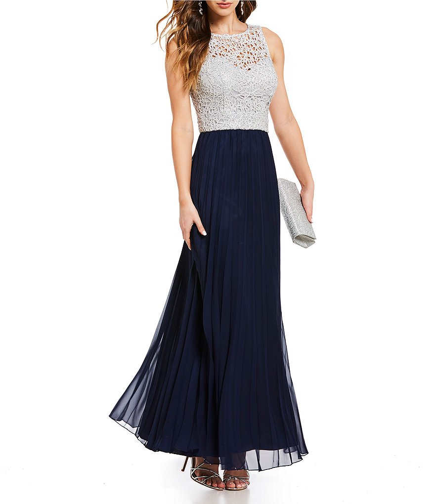 B. Darlin Chain Lace Bodice Long Dress