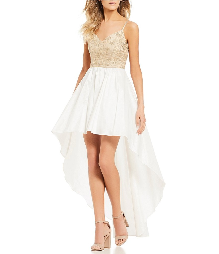 B. Darlin Embroidered Bodice Long High-Low Dress