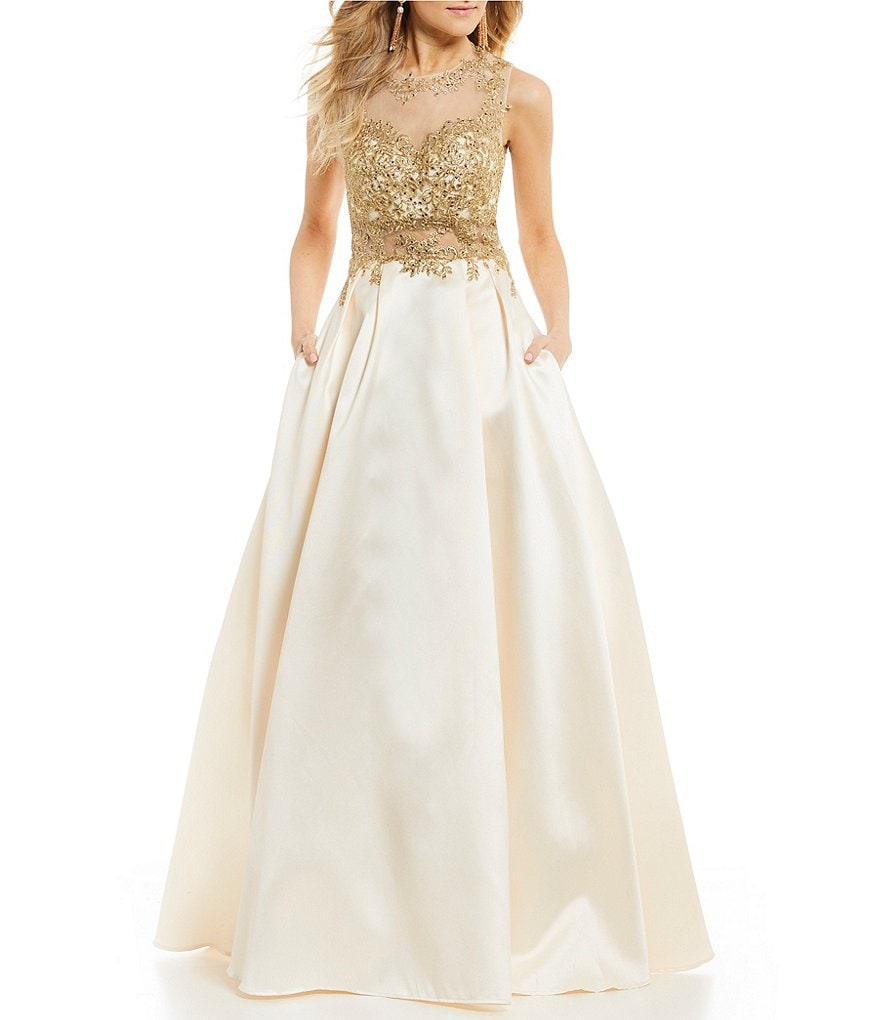 B. Darlin Embroidered Bodice Satin Ball Gown