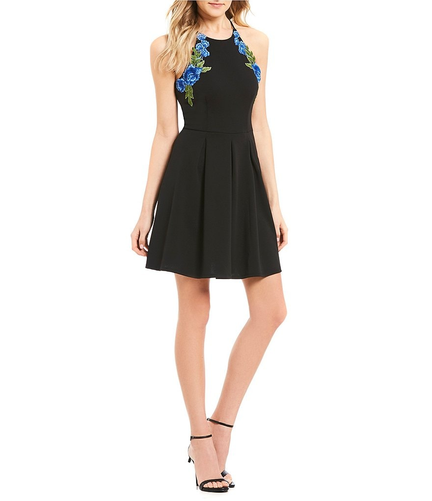 B. Darlin Embroidered Fit-And-Flare Dress