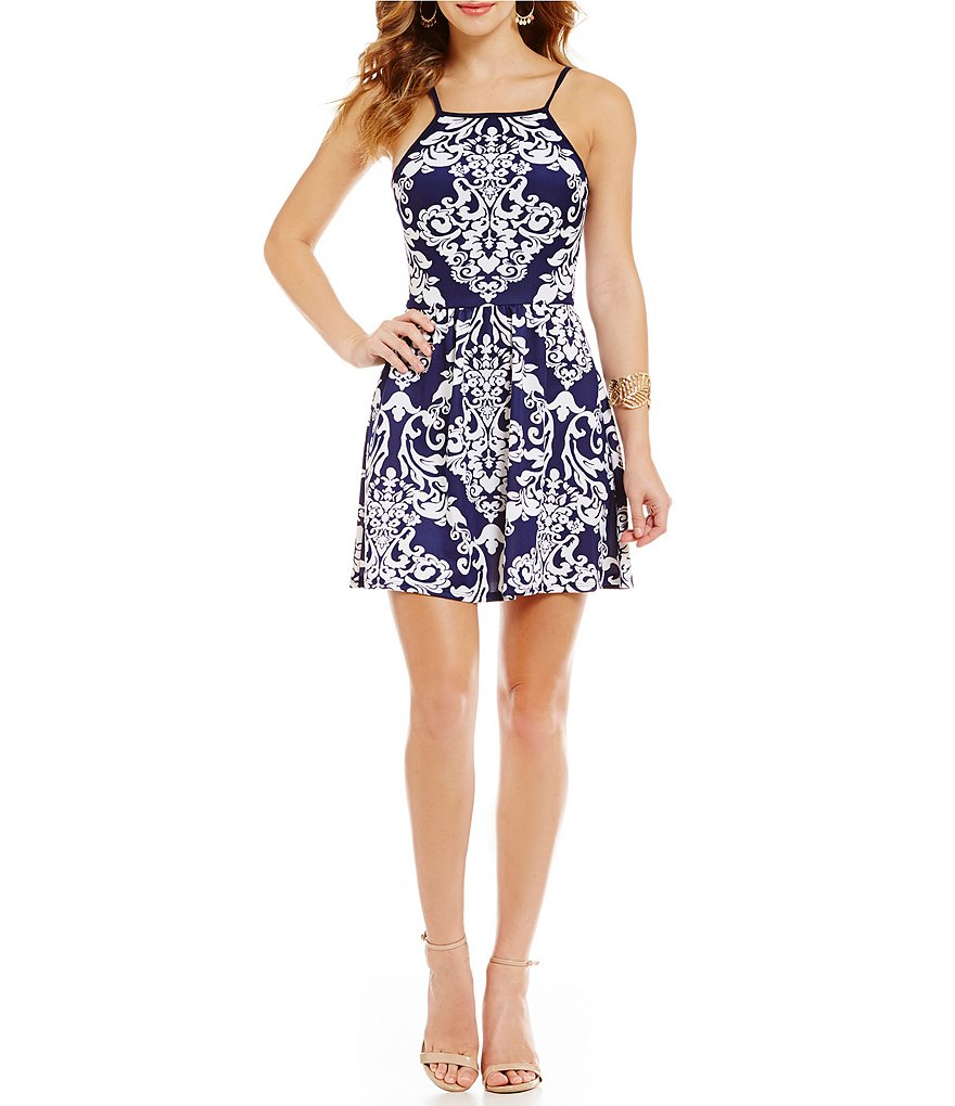 B. Darlin High Neck Scroll Print Fit-and-Flare Dress
