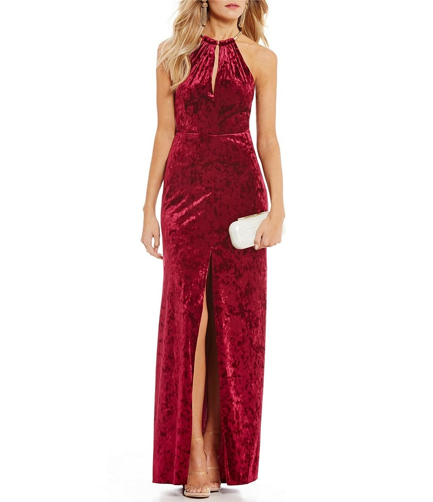 B. Darlin Keyhole Neckline Velvet Long Dress