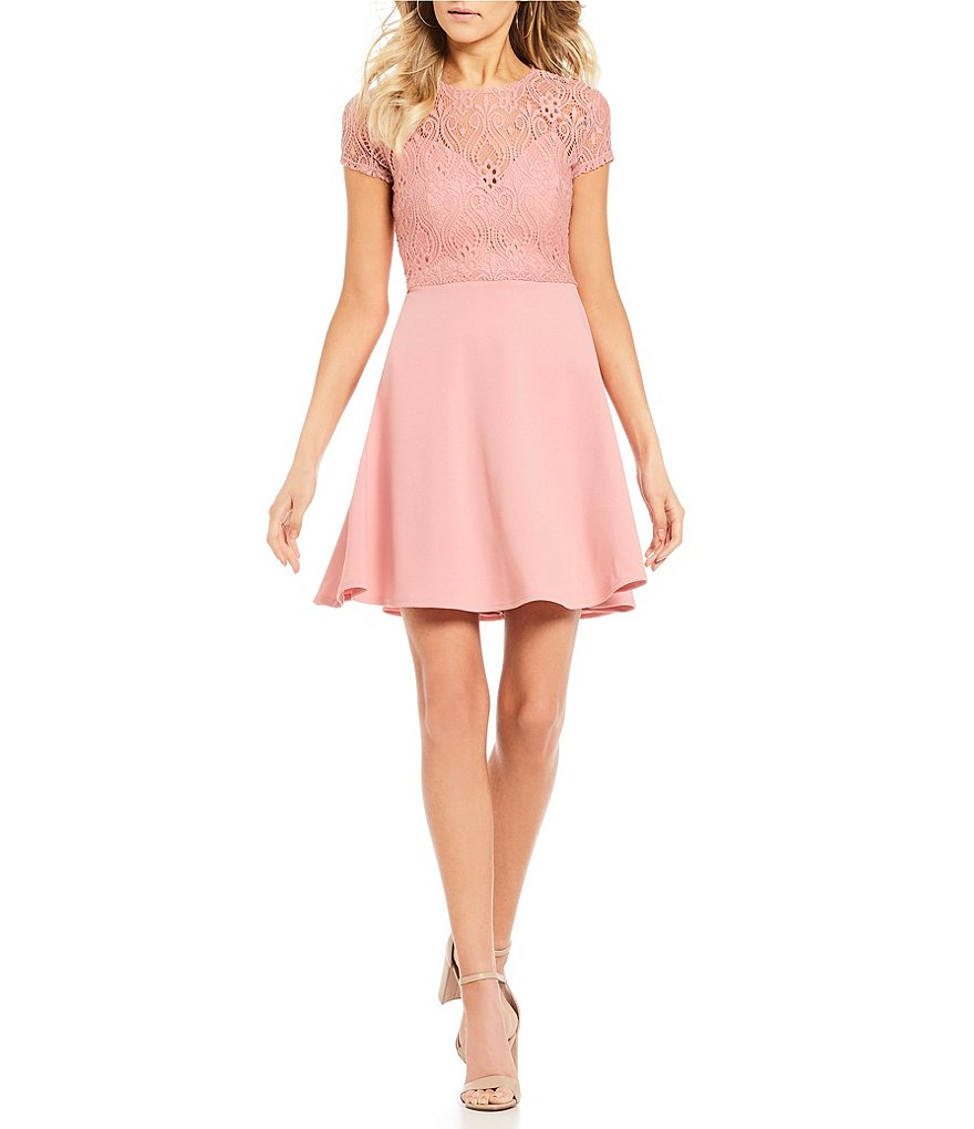 B. Darlin Lace Pop-over Bodice Fit-And-Flare Dress