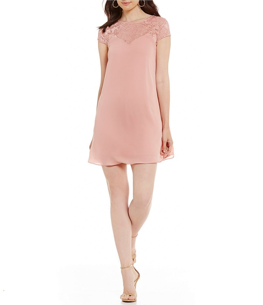 B. Darlin Lace Yoke Shift Dress
