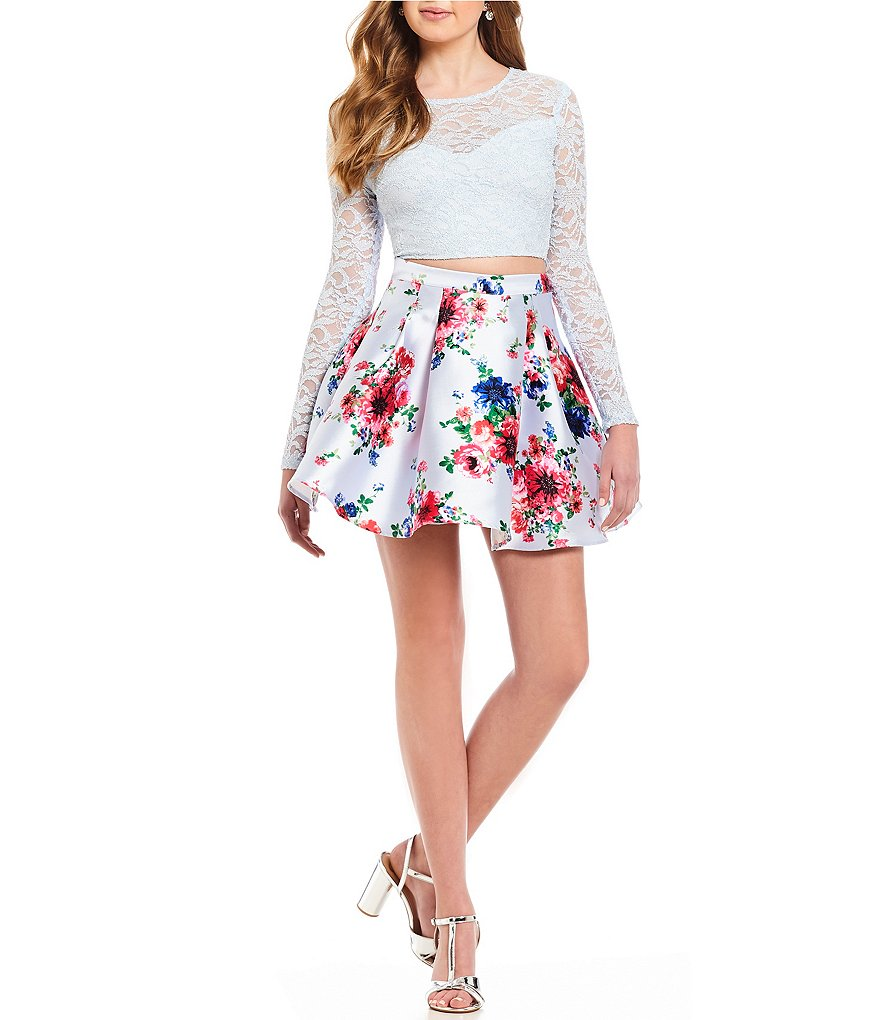 B. Darlin Long Sleeve Lace Top with Floral Print Skirt Two-Piece Dress