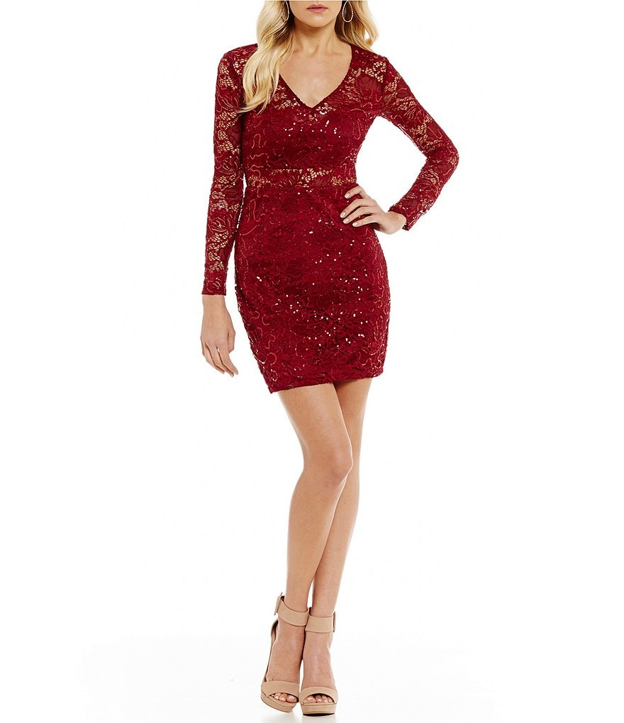 B. Darlin Long Sleeve Sequin Lace Sheath Dress