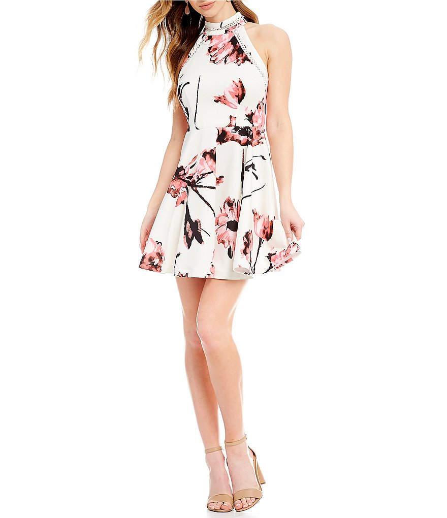 B. Darlin Mock Neck Floral-Print Fit and Flare Dress