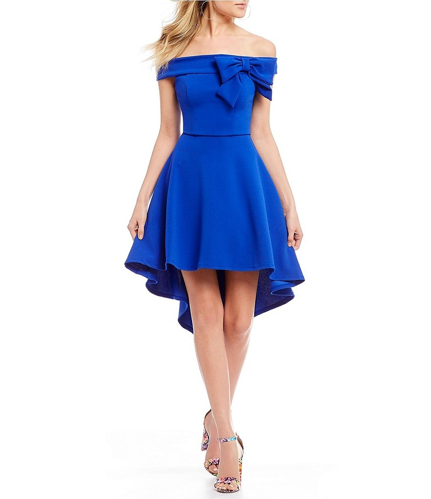 B. Darlin Off-The-Shoulder Bow High-Low Dress
