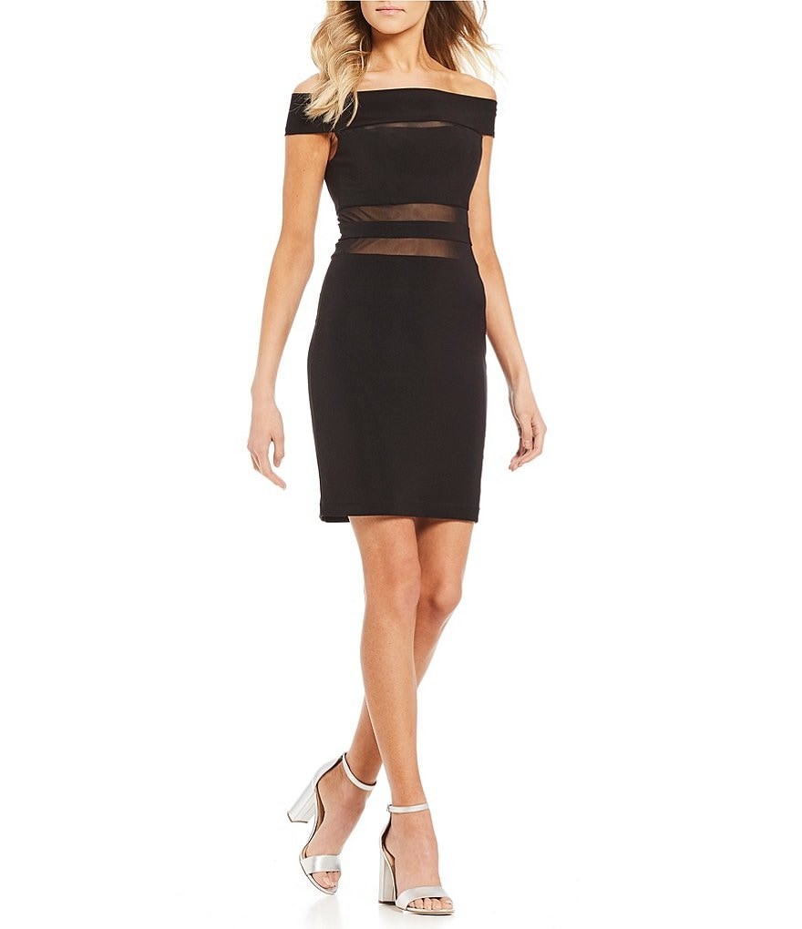 B. Darlin Off-The-Shoulder Illusion Inset Sheath Dress