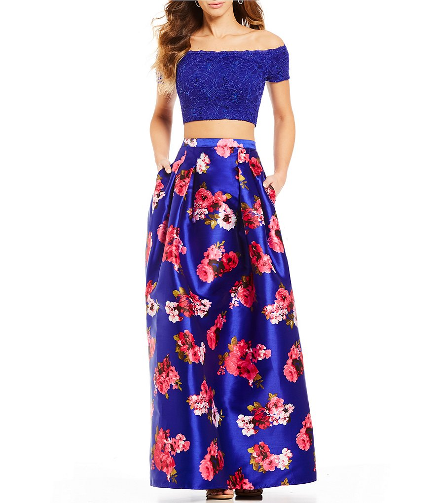 B. Darlin Off-The-Shoulder Lace Top with Floral Skirt Ball Gown