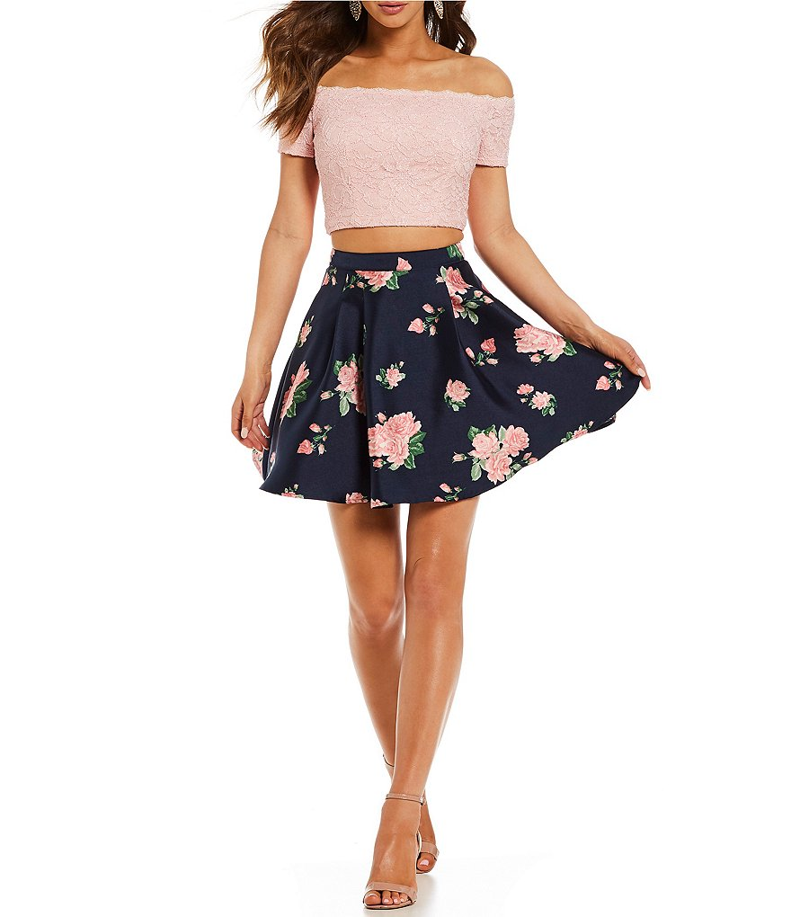 B. Darlin Off The Shoulder Lace Top with Floral Skirt Two-Piece Dress