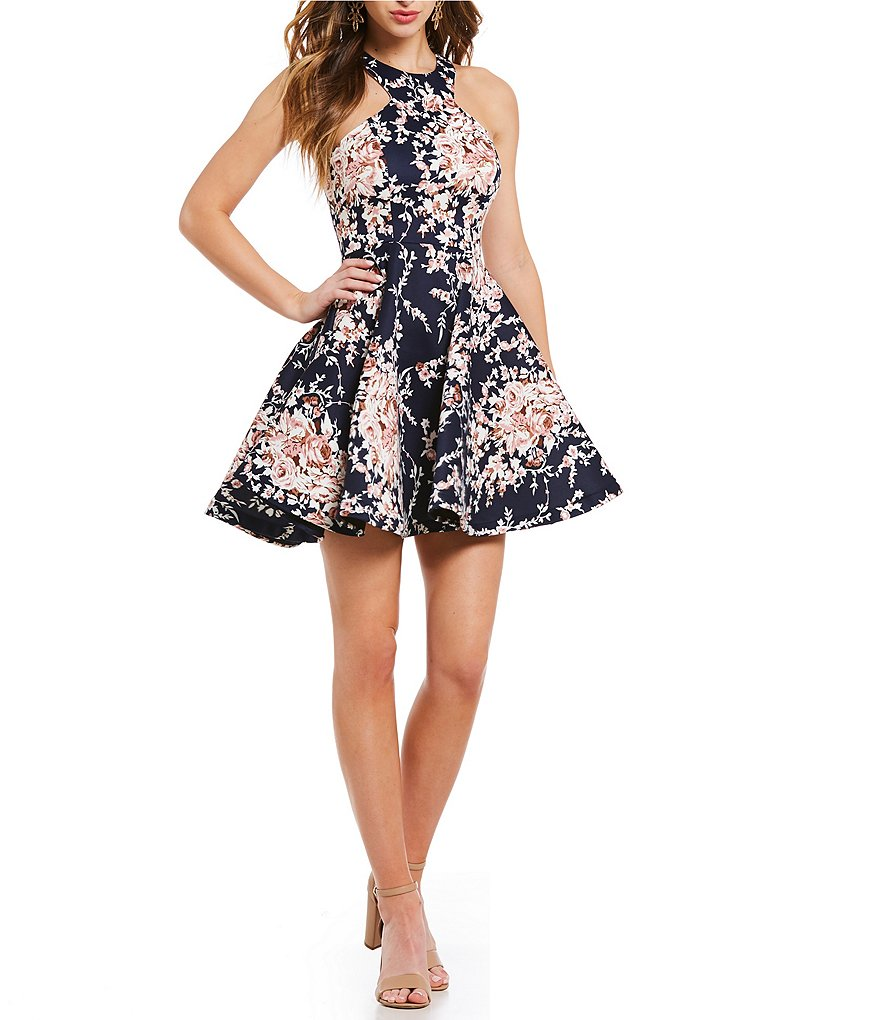 B. Darlin Racer Neckline Floral Print Fit-And-Flare Dress