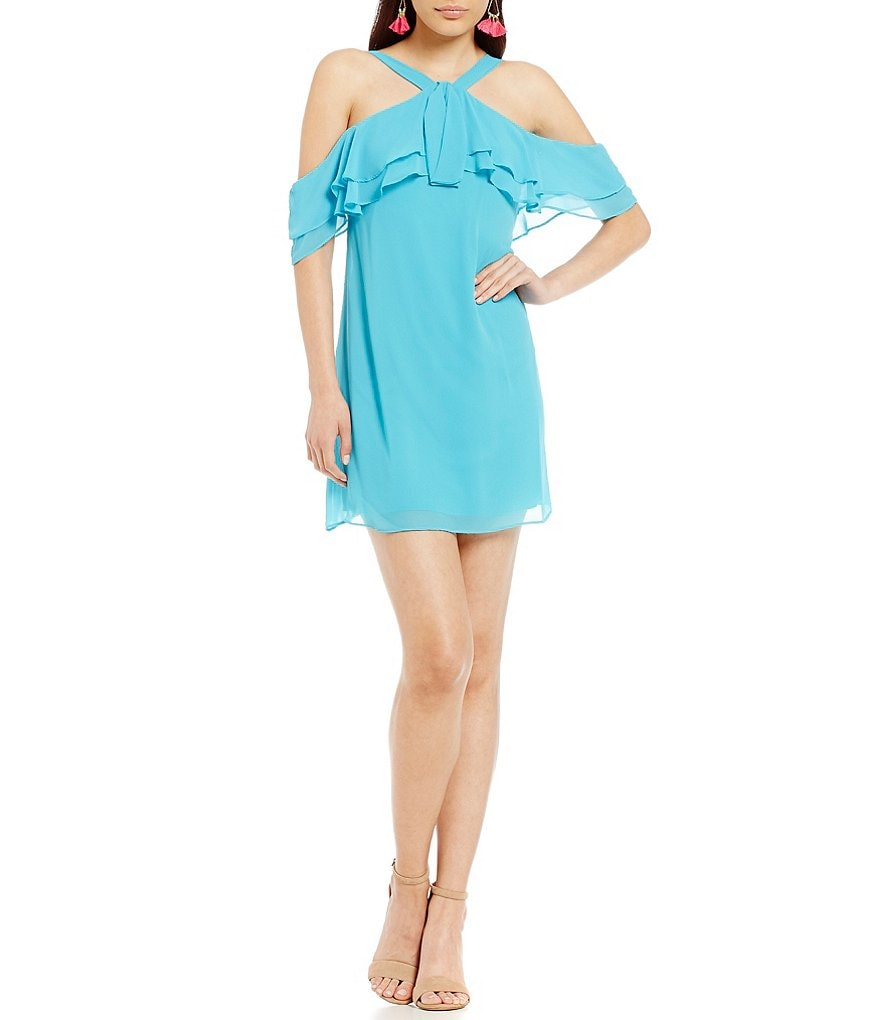 B. Darlin Ruffle Neckline Off-the-Shoulder Shift Dress
