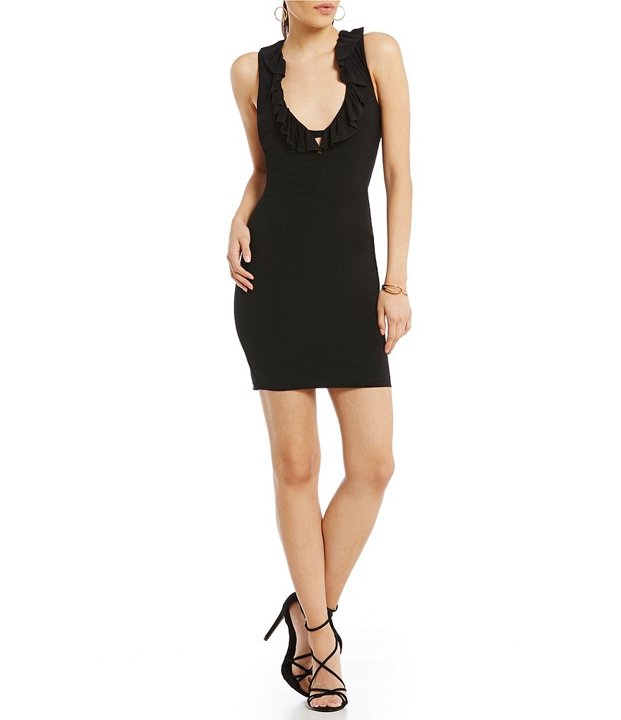 B. Darlin Ruffle-Trimmed Sleeveless Sheath Dress