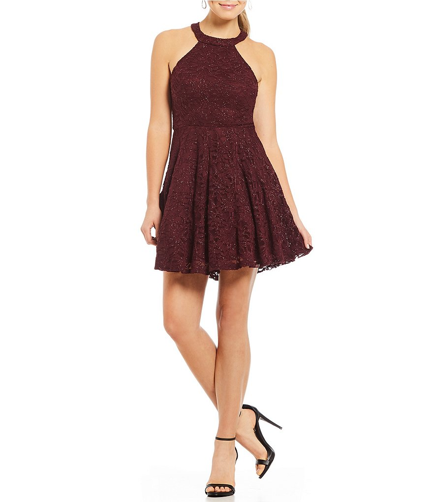 B. Darlin Sequin Lace Strappy Back Fit-and-Flare Dress