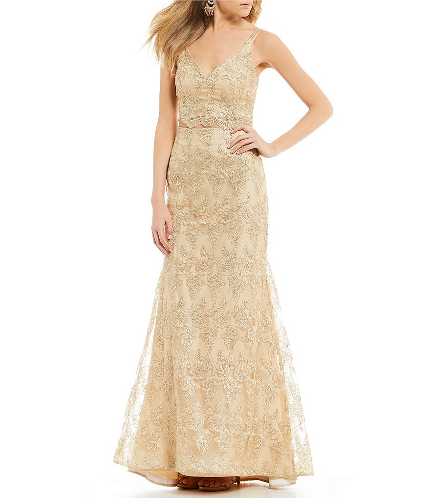 B. Darlin Spaghetti Strap Embroidered Long Two-Piece Dress
