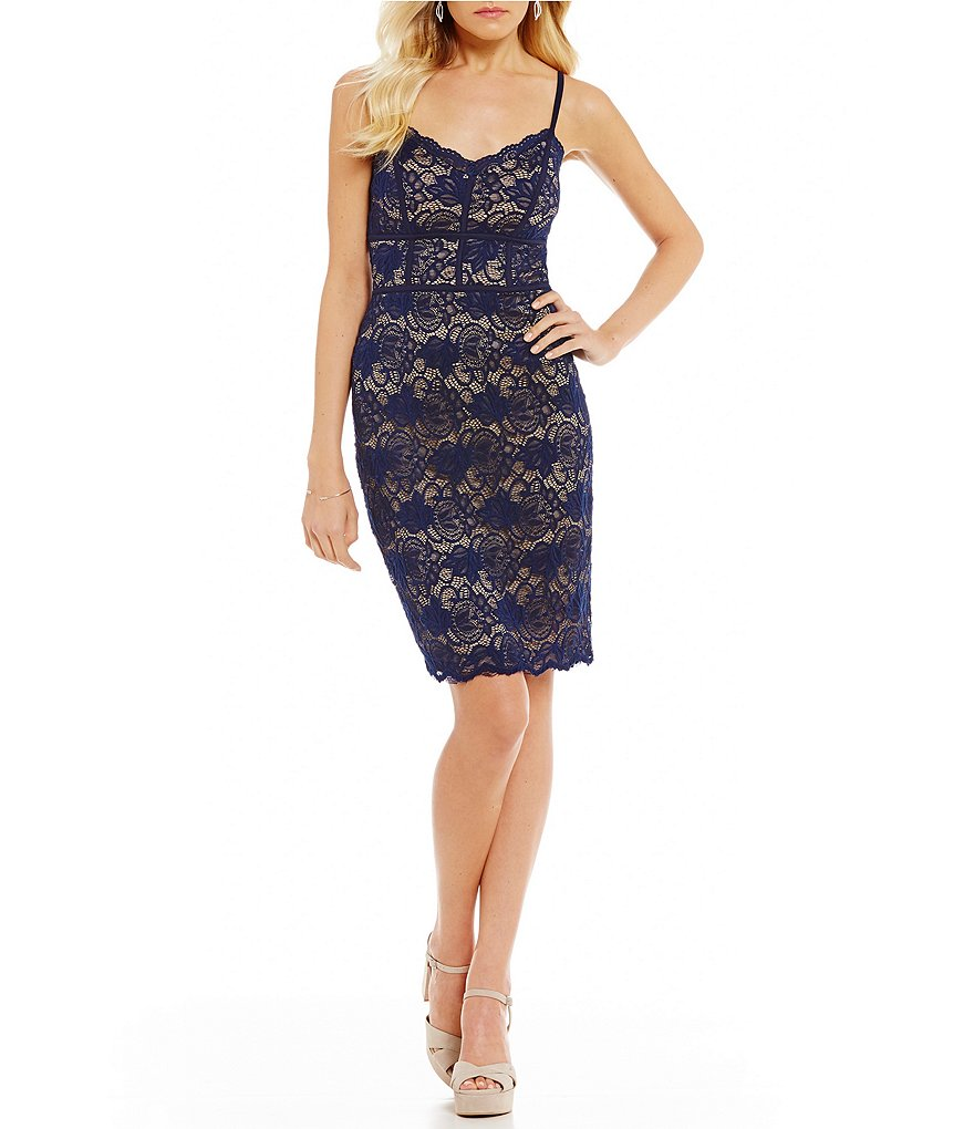 B. Darlin Spaghetti-Strap Lace Sheath Dress
