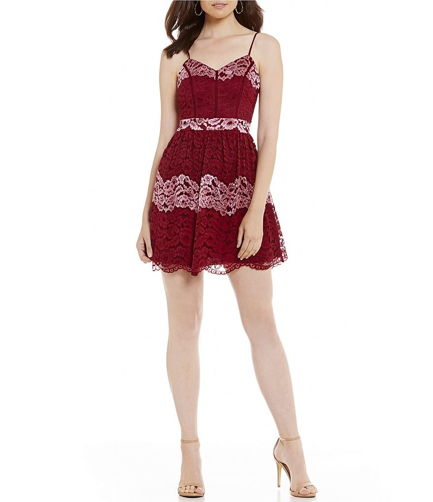 B. Darlin Spaghetti Strap Striped Lace A-Line Dress