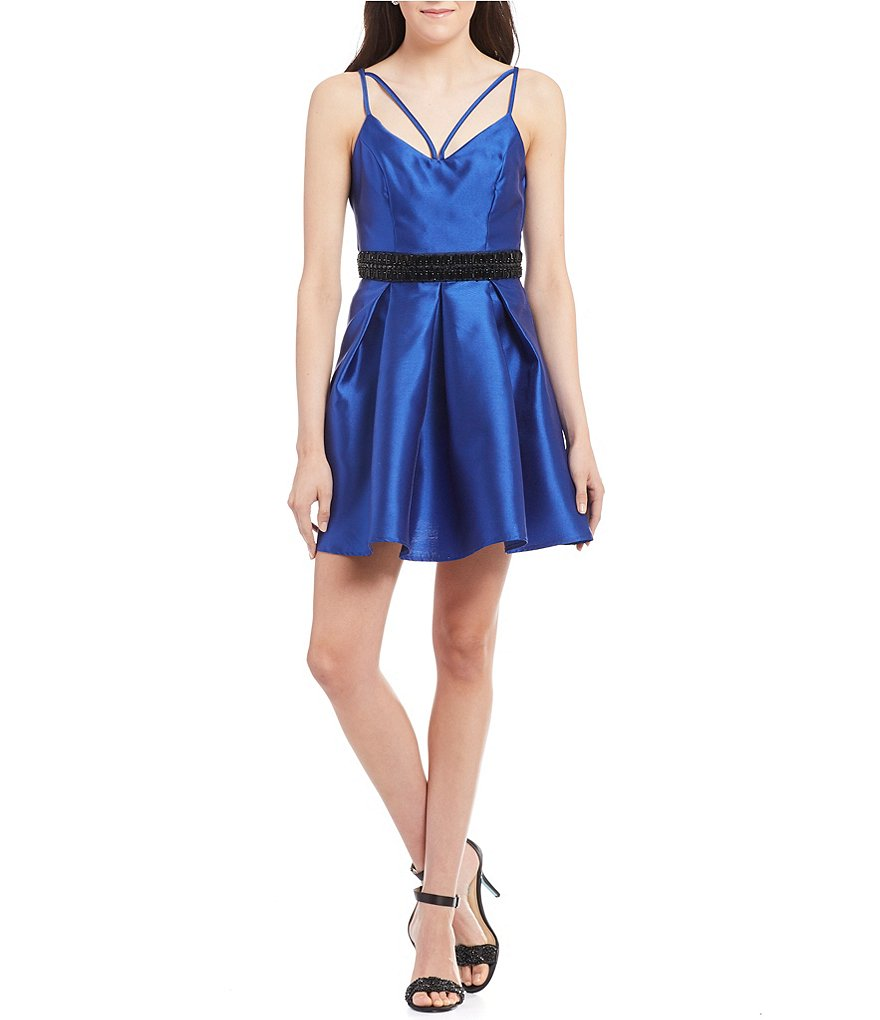 B. Darlin Strappy Back Beaded-Waist Skater Dress