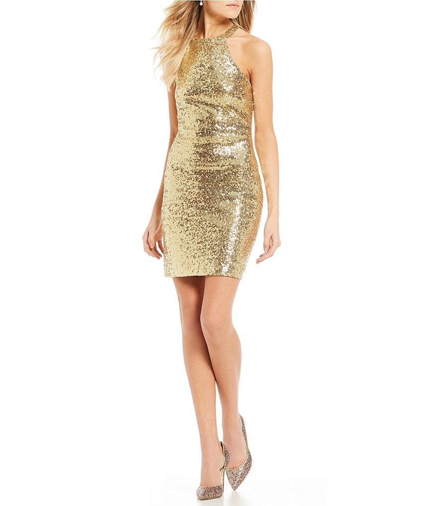 B. Darlin Strappy Back Sequin Sheath Dress