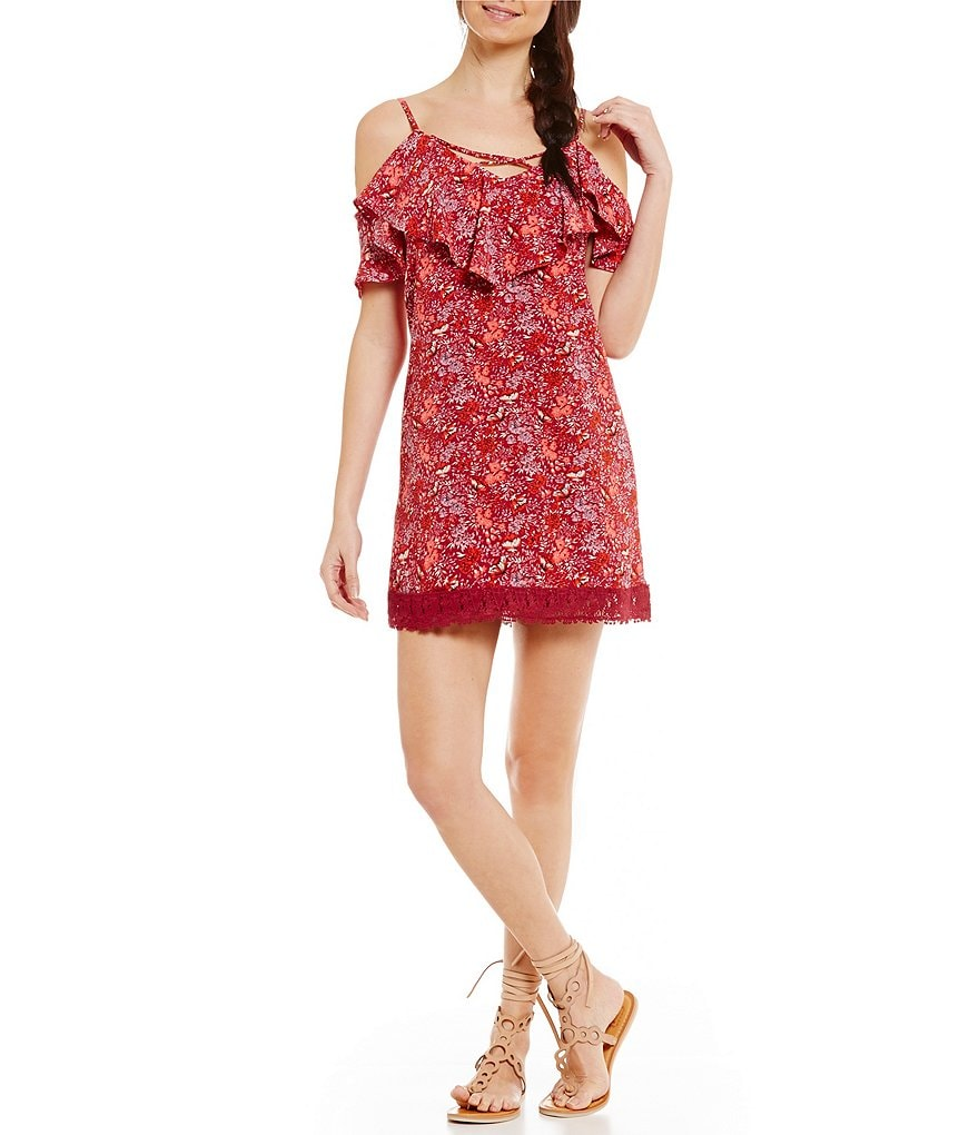 B. Darlin X-Front Floral-Print Cold-Shoulder Shift Dress